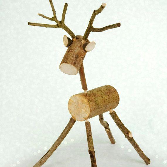 Cerf De Noel Rustic LOG cerf   Medium   mère   cadeau de cerf   renne