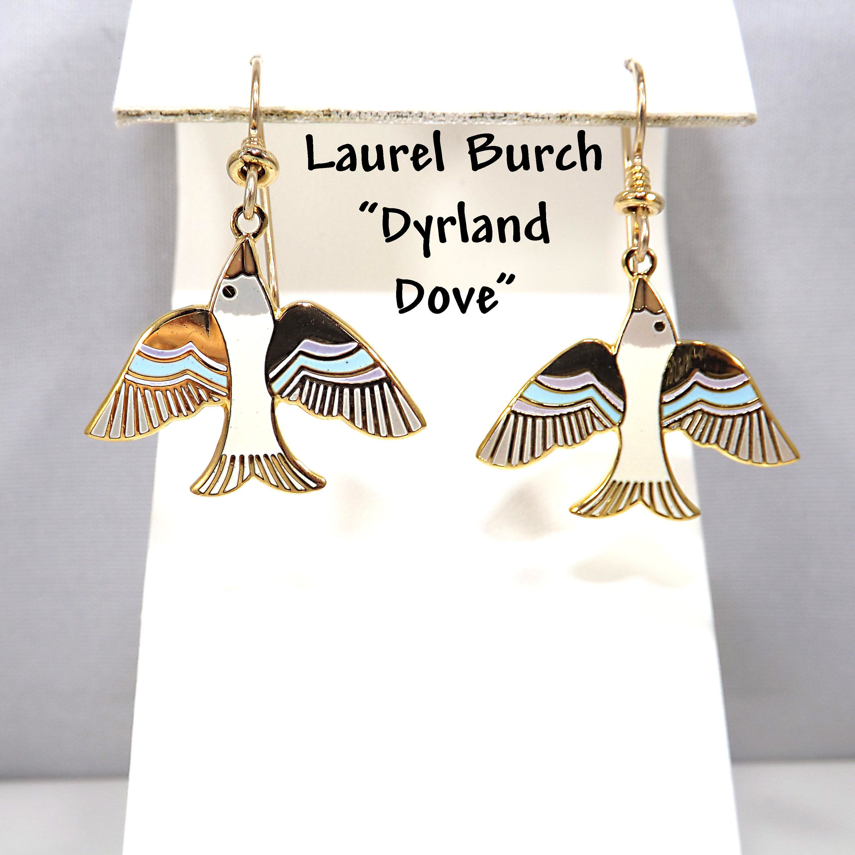"Vintage Laurel Burch ""Dyrland Dove"" Enamel Earrings"