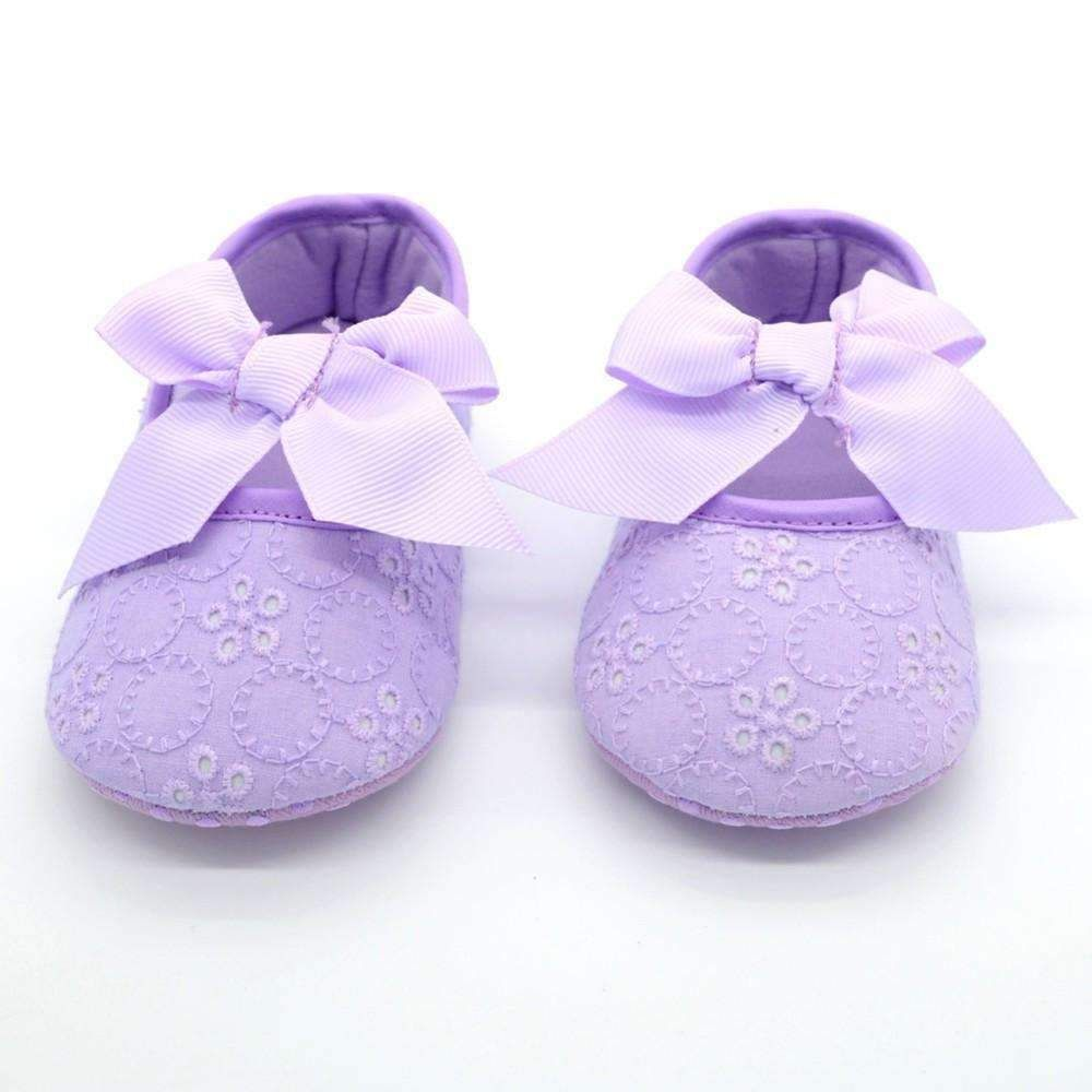 Mother & Kids Newborn White Bowknot Dot Baby Girl Lace Shoes Toddler Prewalker Anti-slip Shoe Simple Baby Shoes First Walker First Walkers