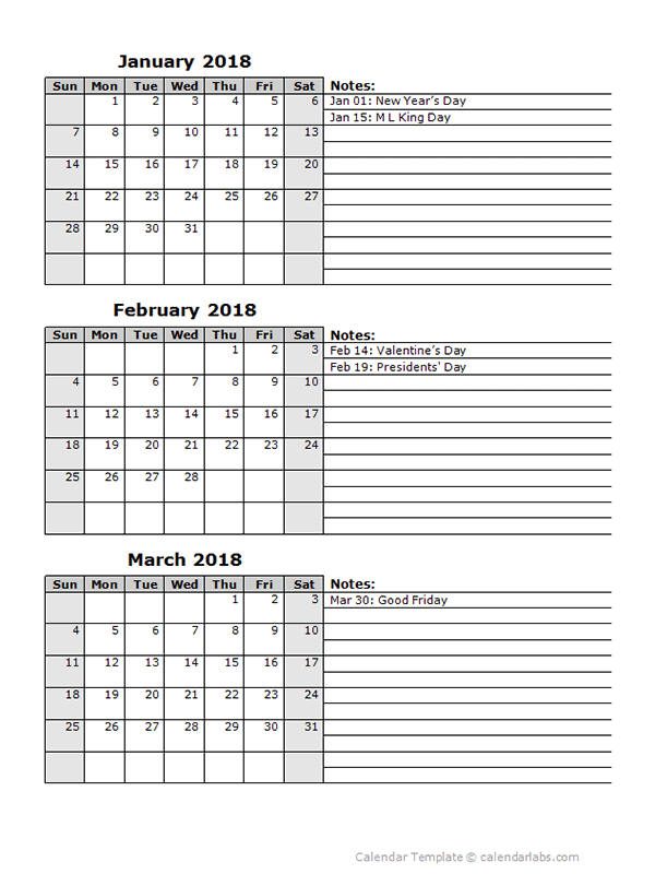 picture regarding Three Month Calendar Printable referred to as 2018 3 Thirty day period Calendar Template 2018 Fundamental