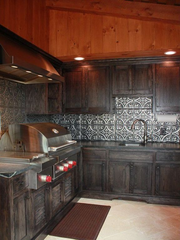 Rustic Kitchen with Inset cabinets, Undermount Sink, High ceiling ...