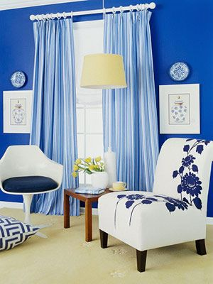 Best Bright Blue Living Room Via Sunset Magazine Small Room 400 x 300