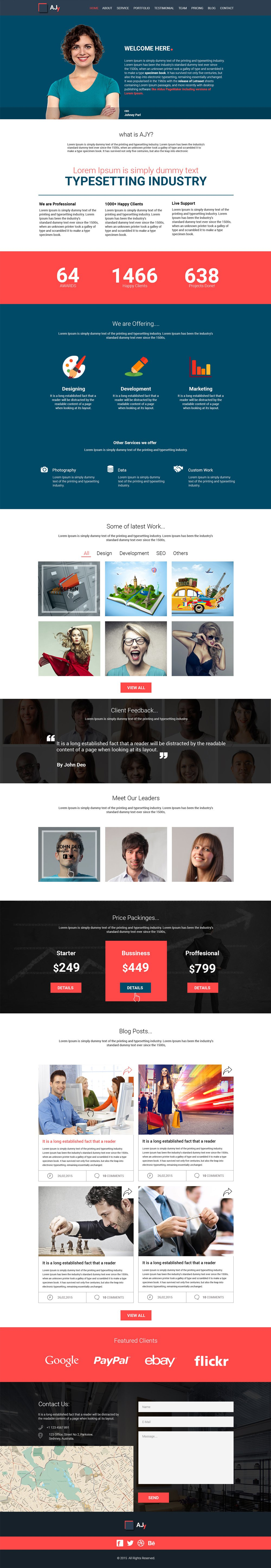 ajy one page template psd free web templates pinterest