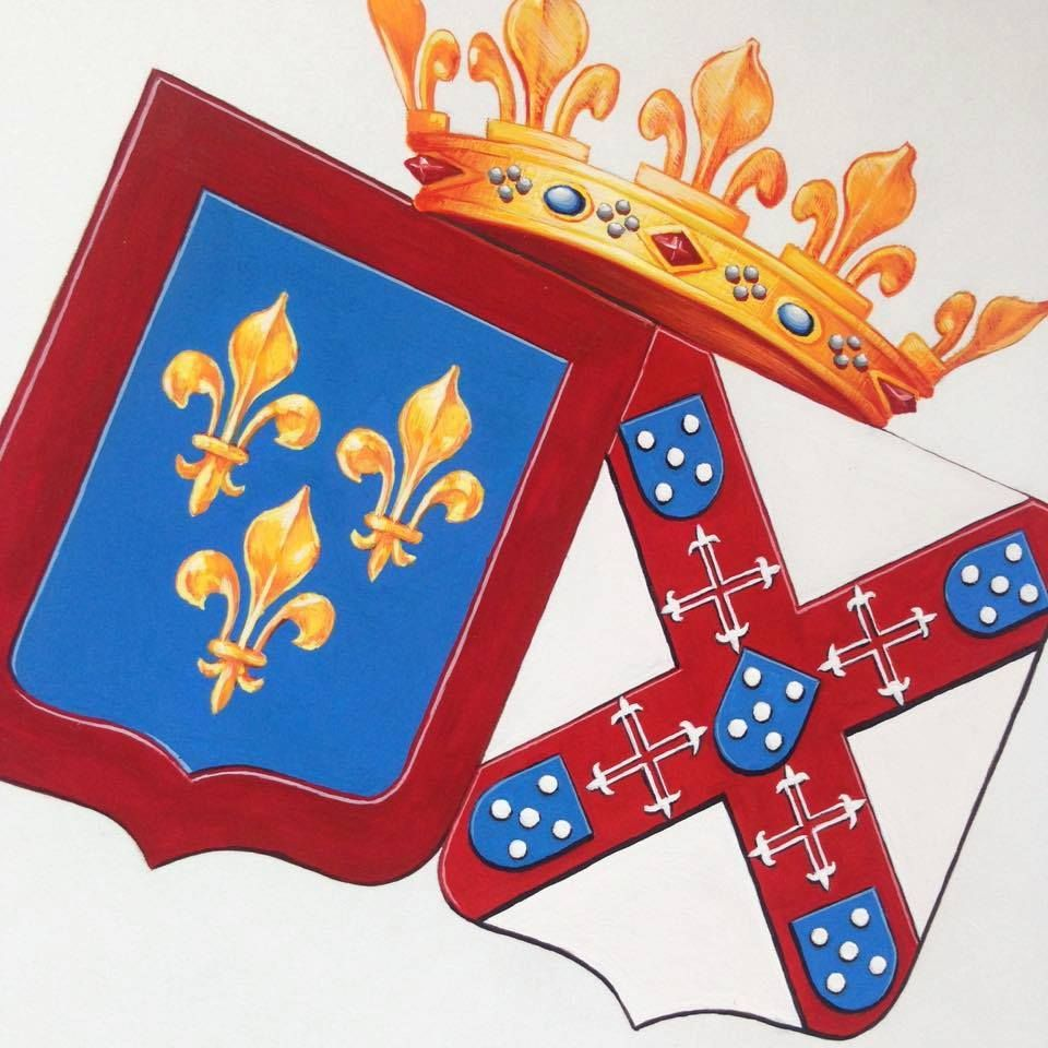 Duque Charles Phillipe D Anjou E Duquesa De Cadaval Heraldry Coat Of Arms Book Art