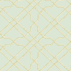 Bamboo Trellis Wallpaper In Blue And Green