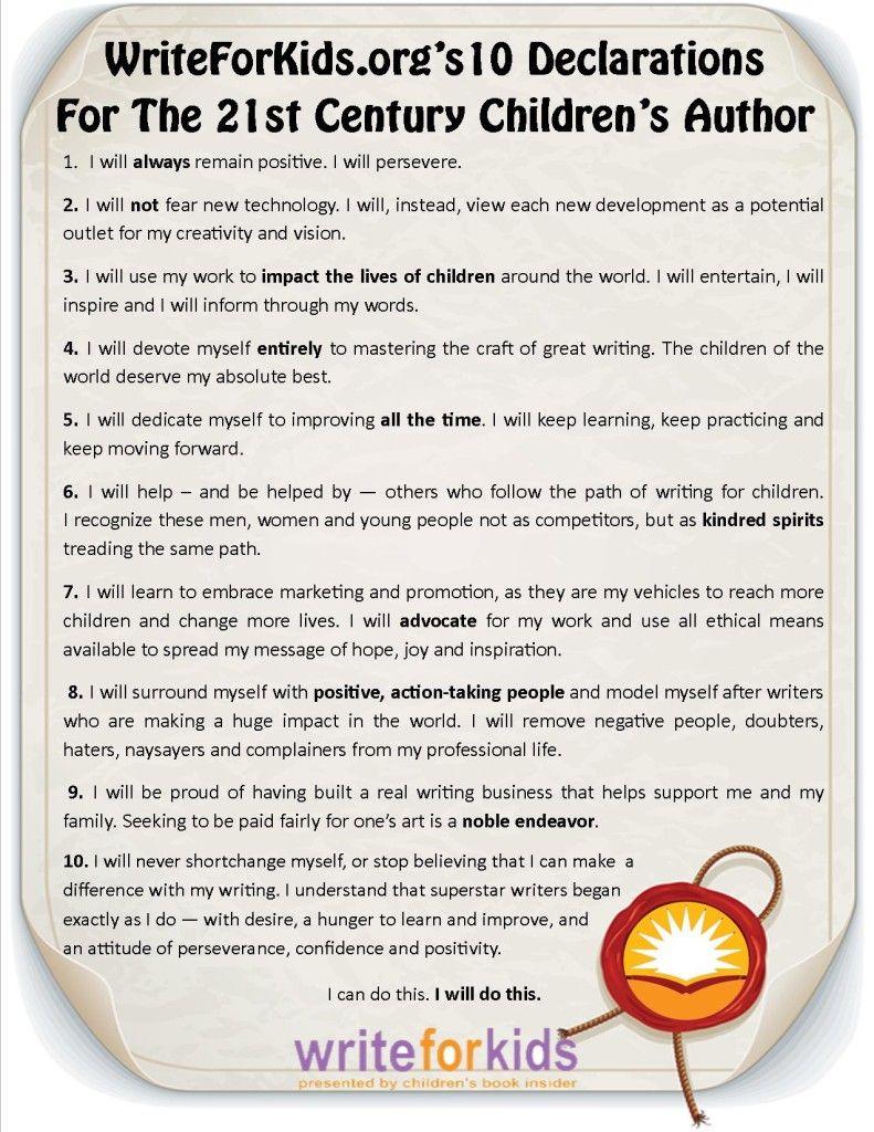 10 Declarations For The 21st Century Children S Author