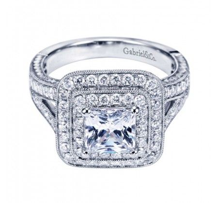 73b3a64bd93e59 14K White Gold Square Double Halo Engagement Ring-Wedding Day Diamonds