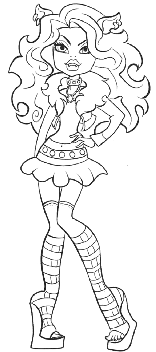 clawdeen wolf is photo model coloring pages monster high coloring pages kidsdrawing free