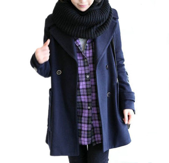 Women's Double Breasted Coat with Large Pockets