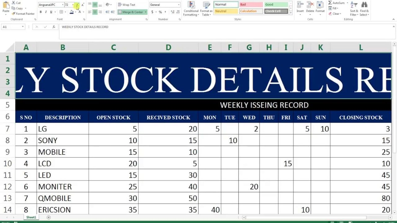 #68 How To Make Maintain Stocks Report In Ms Excel inside ...