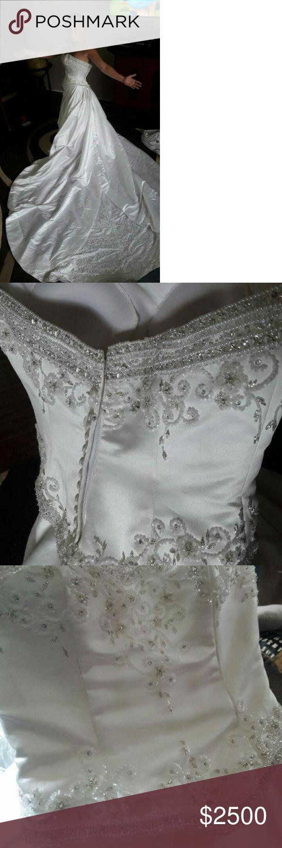 Wedding dress train bustle  White wedding dress with long train and bead work  White wedding