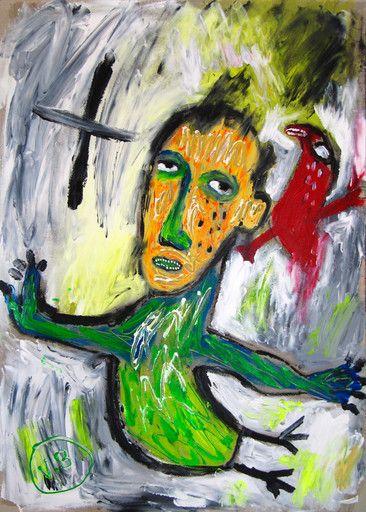 """""""Hoy es viernes"""" de Victoria Barranco @ VirtualGallery.com - Pintura acrílica en cartón de 50x70 cm (19.7x27.6 in). Arte marginal. Un hombre pájaro y un pájaro. (2015)"""