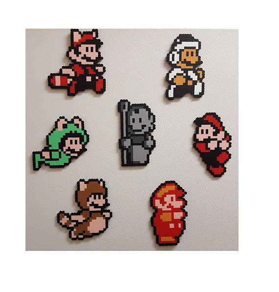 Mario, Nintendo, perler beads, magnet, pixel art, mario birthday ...