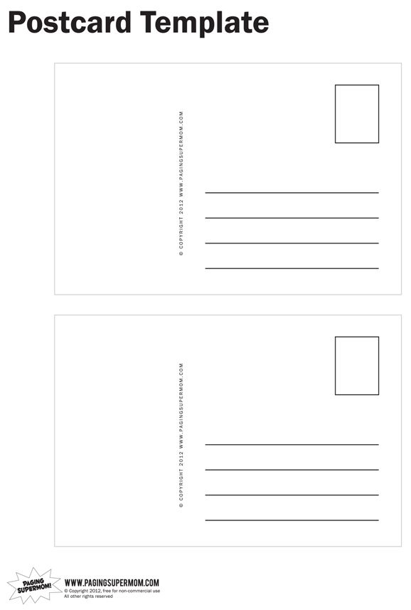 Draw Your Own Postcard   a free printable postcard template | Kid