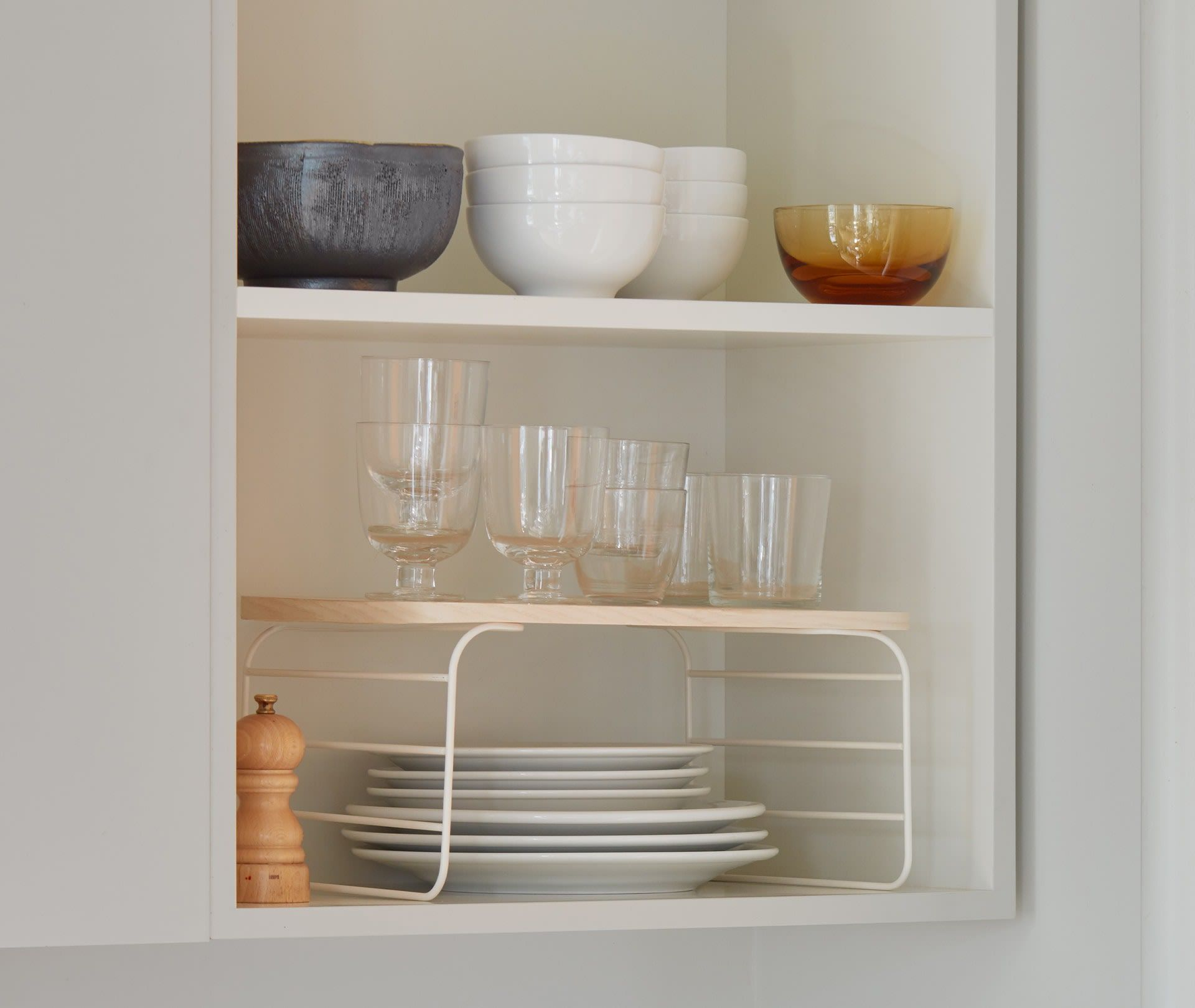 Shelf Risers Create Space To Enjoy In 2020 Shelves Storage Spaces Home Accessories