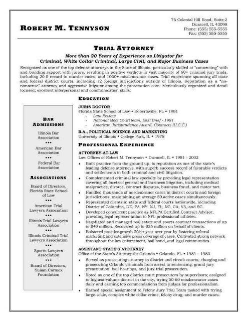 Excellent Resume For An Attorney