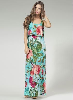 Vestido longo de malha com elastico na cintura