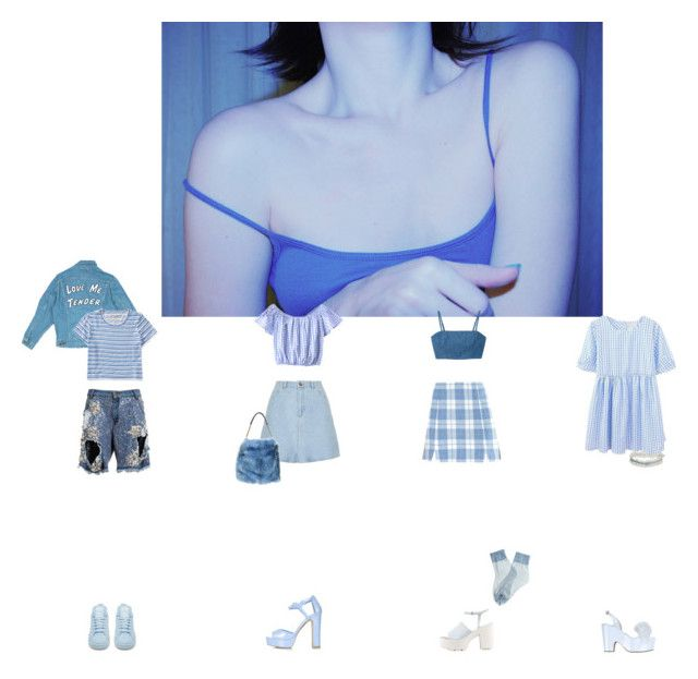 """""""blue daze"""" by rniyake ❤ liked on Polyvore featuring Agent Provocateur, Nly Shoes, Aéropostale, Ashish, Monki, Falke, Topshop, Moschino Cheap & Chic, adidas and STELLA McCARTNEY"""