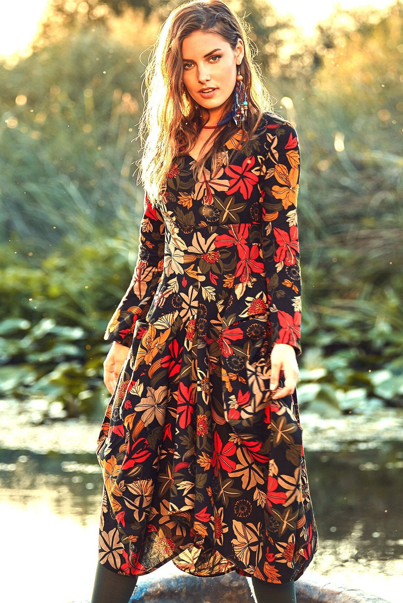 Floral Maxi Dress Asymmetric Dress Long Sleeve Dress Dress With Pockets Medieval Dress Maternity Dress Floral Maxi Dress Maxi Dress Long Sleeve Boho Dress [ 2000 x 1335 Pixel ]