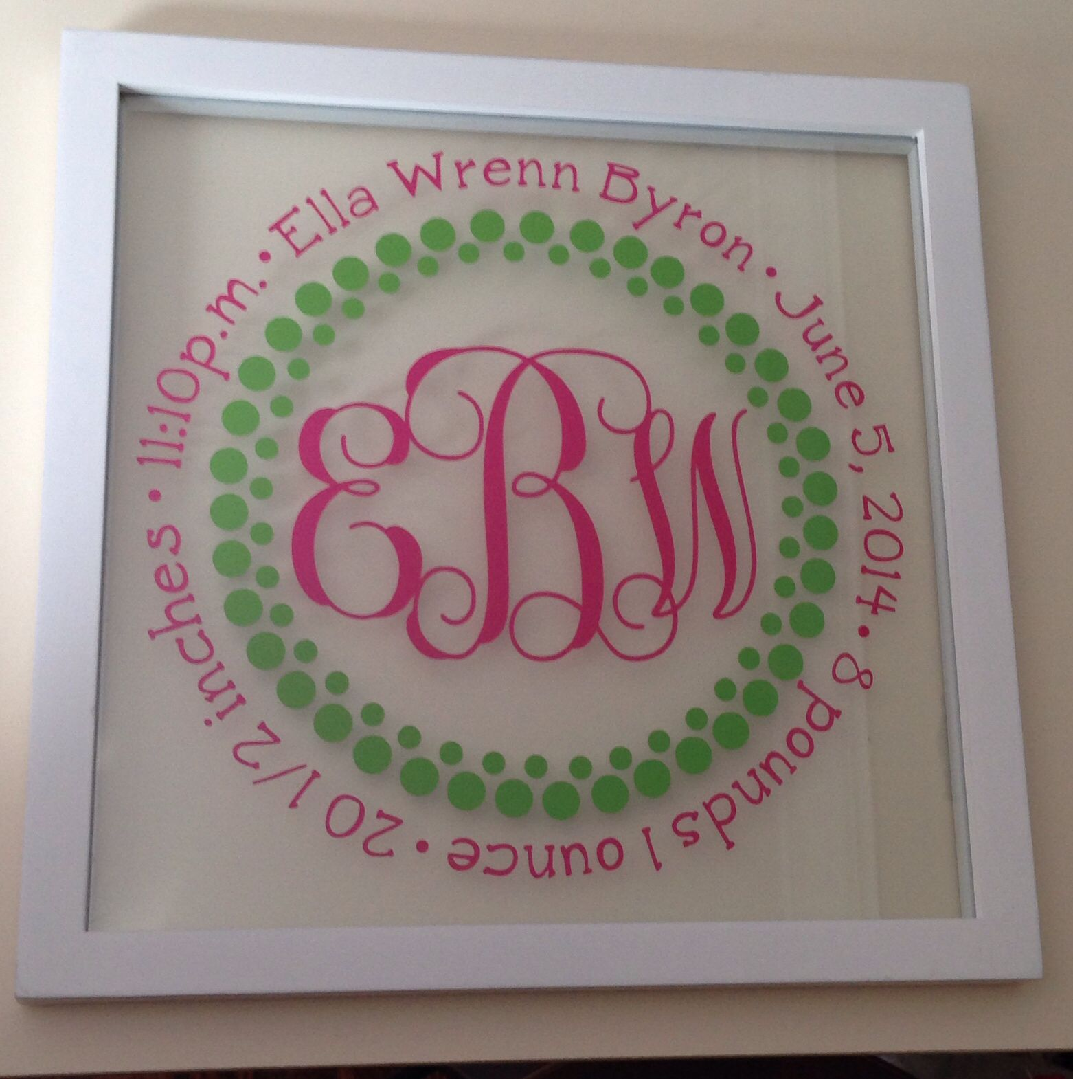 Love the way this 12x12 birth announcement float frame turned out ...