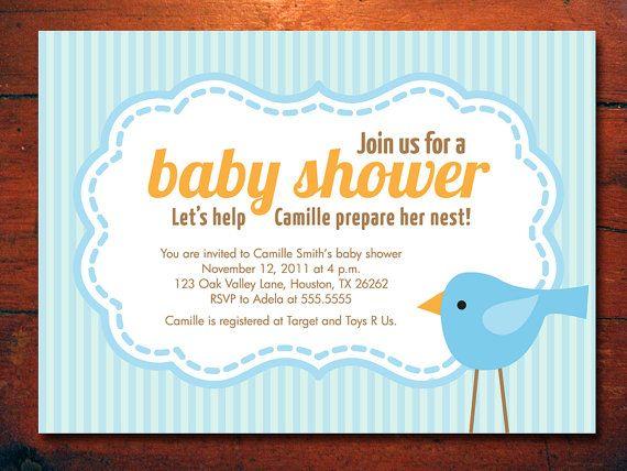 Bird Baby Shower Invitations baby Boy Invites by miragreetings