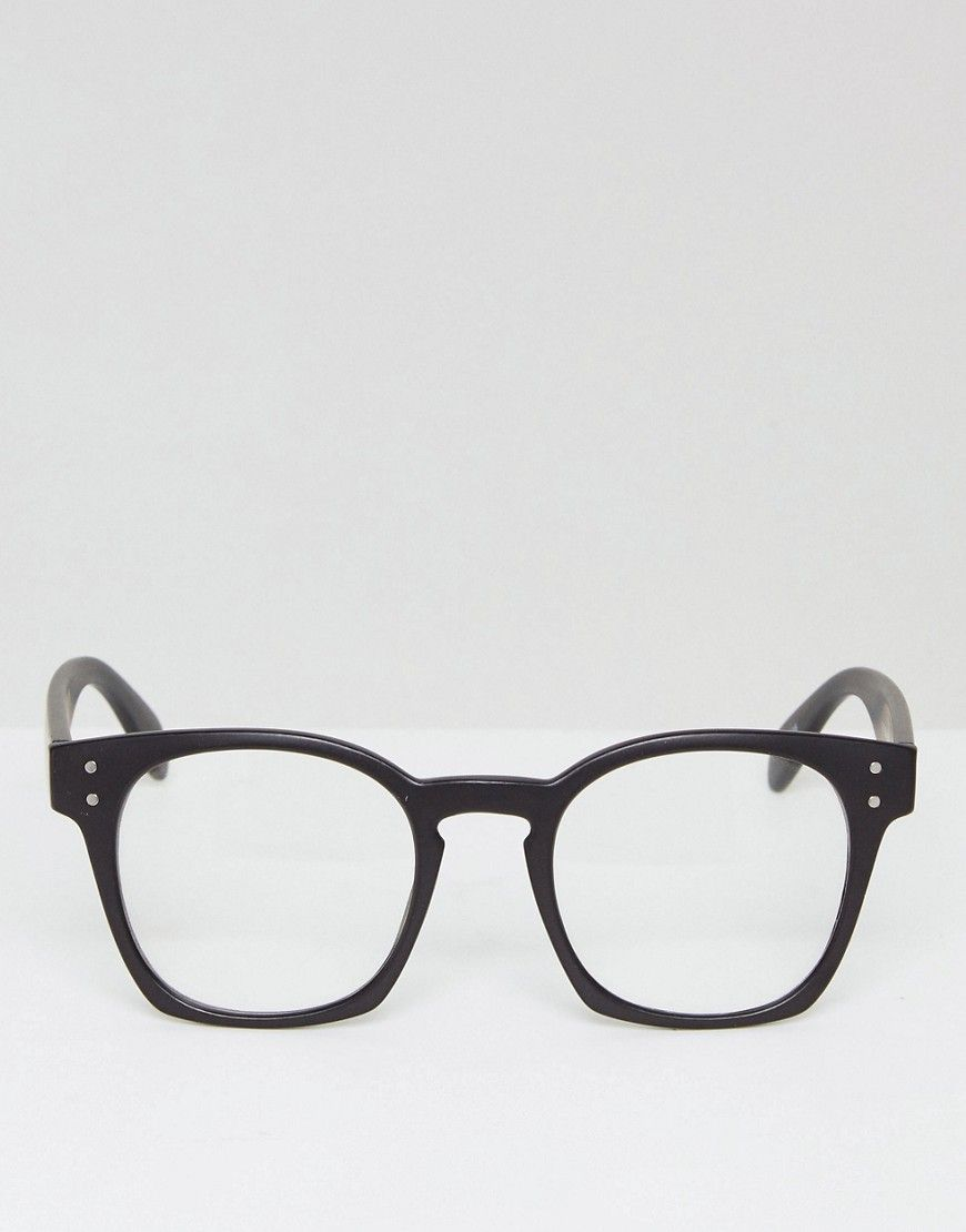 05a5e722daa49 Reclaimed Vintage Inspired Round Clear Lens Glasses In Black - Black