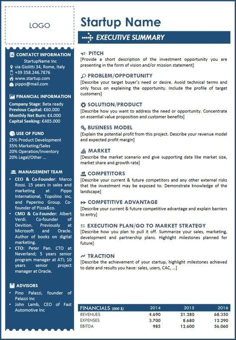 Executive summary template for startup a one page with all the main