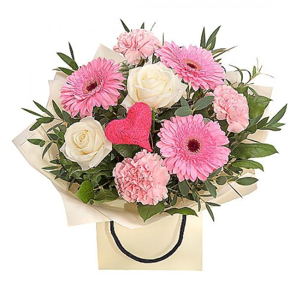 A Delightfully Delicate Pink And White Gift Bag Bouquet. A