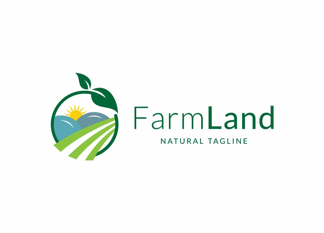 Farm Land Modern Agriculture Logo Template