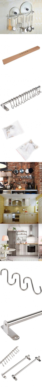 2pcs Wall Mounted Pan Pot Rack Kitchen Utensils Hanger Organizer Lid ...