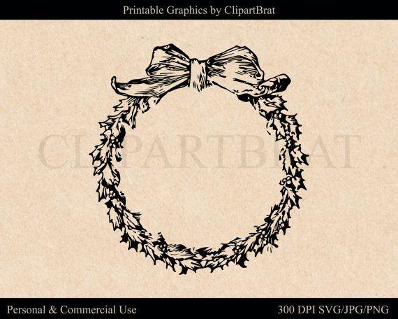 Photo of HOLIDAY WREATH Clipart mit Blättern & Bogen Weihnachten ClipArt für Einladungen Winterkranz Svg Vector Digital Graphics für den kommerziellen Gebrauch