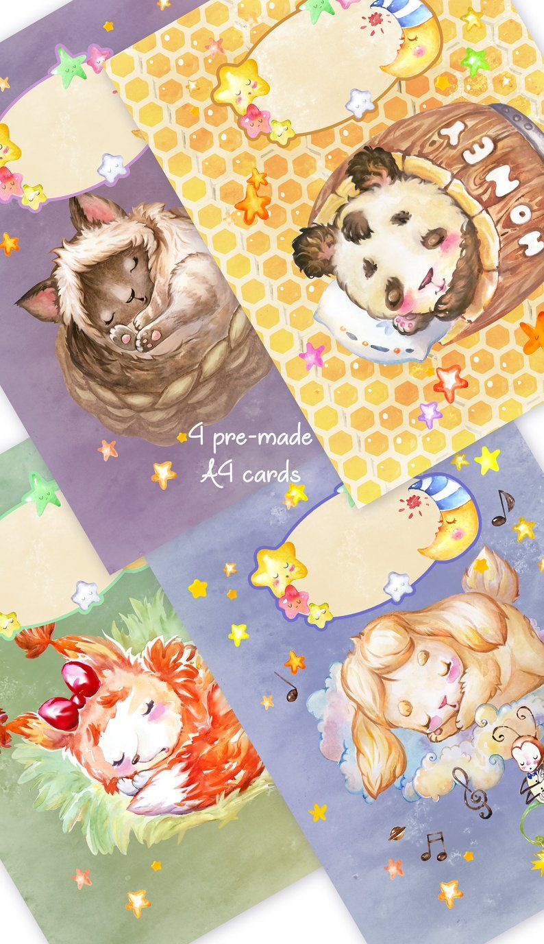 Sweet Lullaby Watercolor Clipart Cards And Pictures For Etsy Watercolor Clipart Nursery Art Clip Art