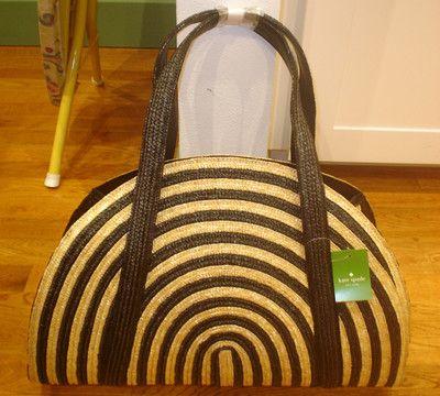 Nwt 5 Kate Spade Lawn Party Half Circle Natural Black Straw Purse Bag Tote