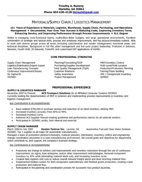 Logistic Manager Resume Sample peterpanplayersorg