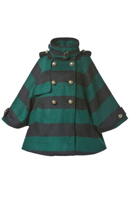 Striped Print Loose Wool-blend Coat $184