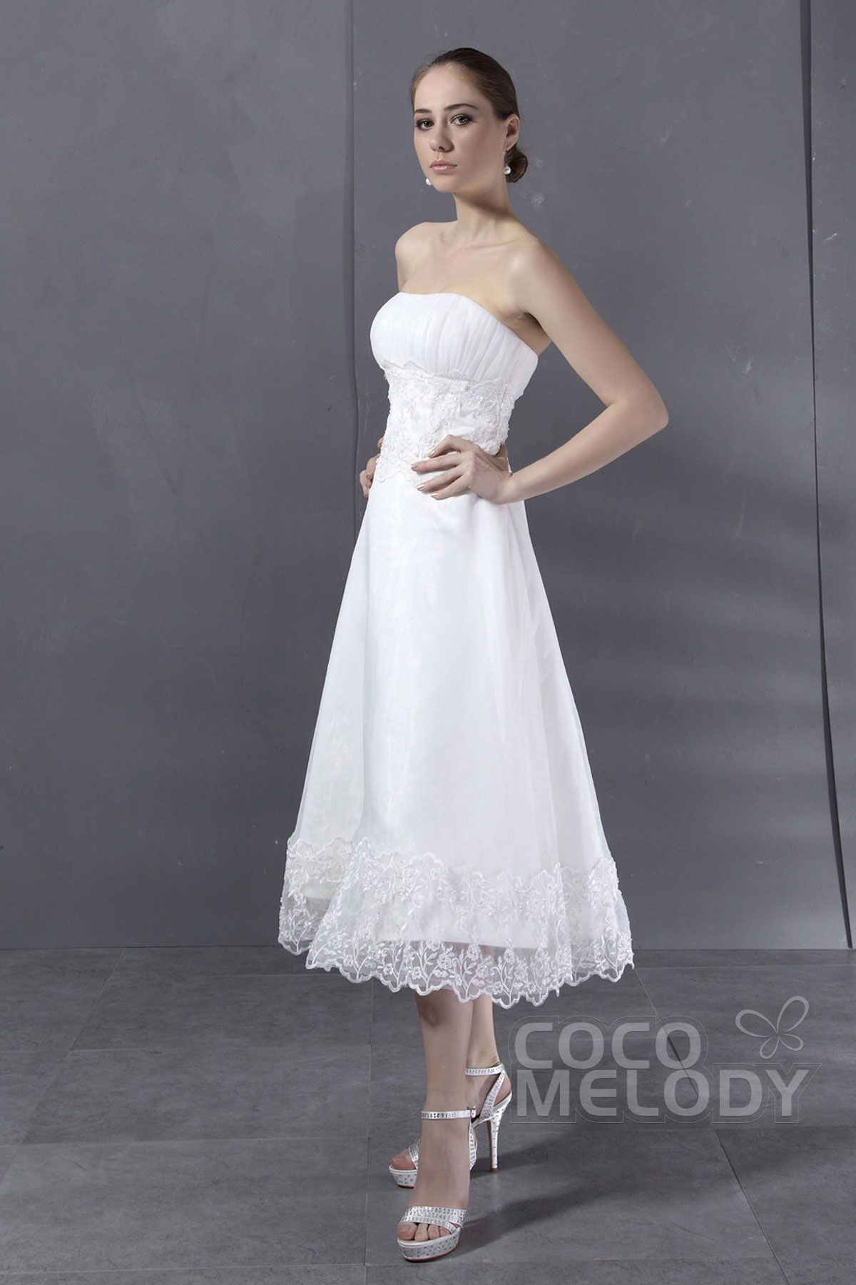 Wedding dresses tea length  Charming ALine Strapless Tea Length Organza Wedding Dress CWXI