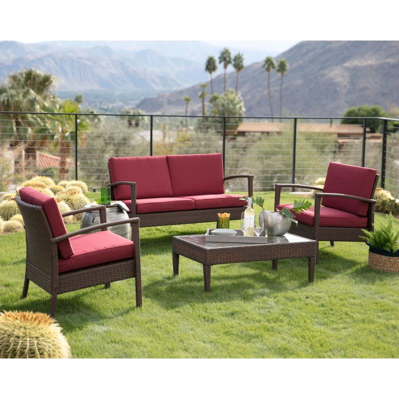 C Coast Vega All Weather Wicker 4 Piece Conversation Set With Cushions Patio Sets At Hayneedle