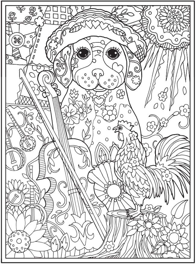 Dazzling Dogs Coloring Book Artwork By Marjorie Sarnat Doverpublications