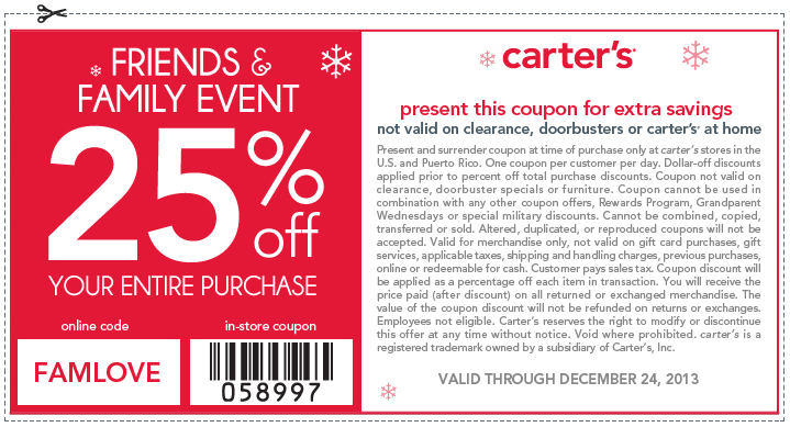 Pinned December 24th 25 Off At Carters Or Online Via Promo Code