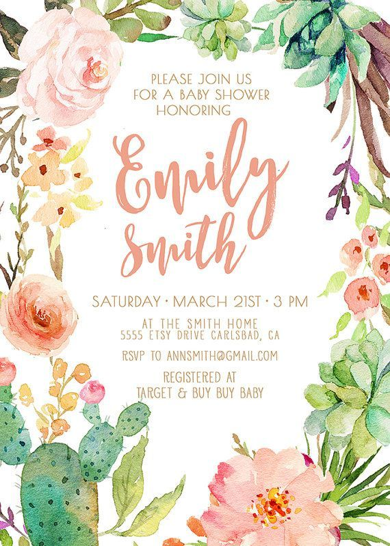 Girl Baby Shower Invitation Succulent Watercolor Flowers Boho