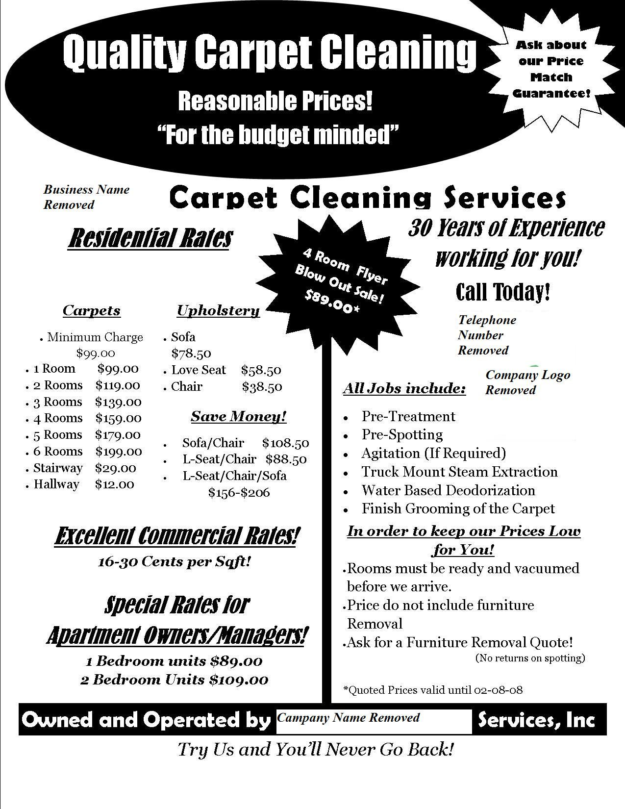Carpet Cleaning Flyer A flyer I did on spec for a local ...