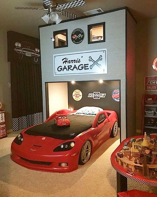 Baby Boy Room Cars: Race Car Bedroom🏎Love The Custom Built Loft! Credit