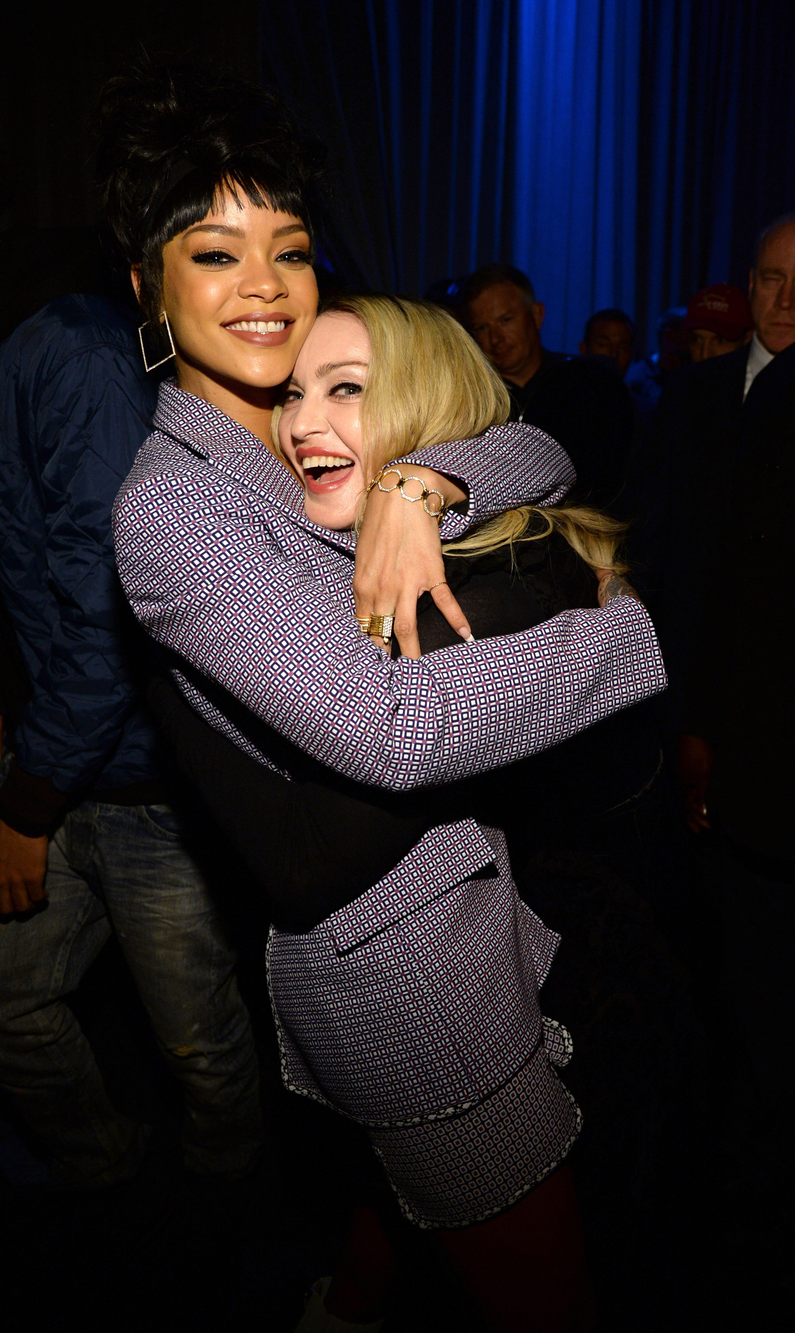 Rihanna and Madonna celebrating the launch of Jay Z's new streaming service, Tidal