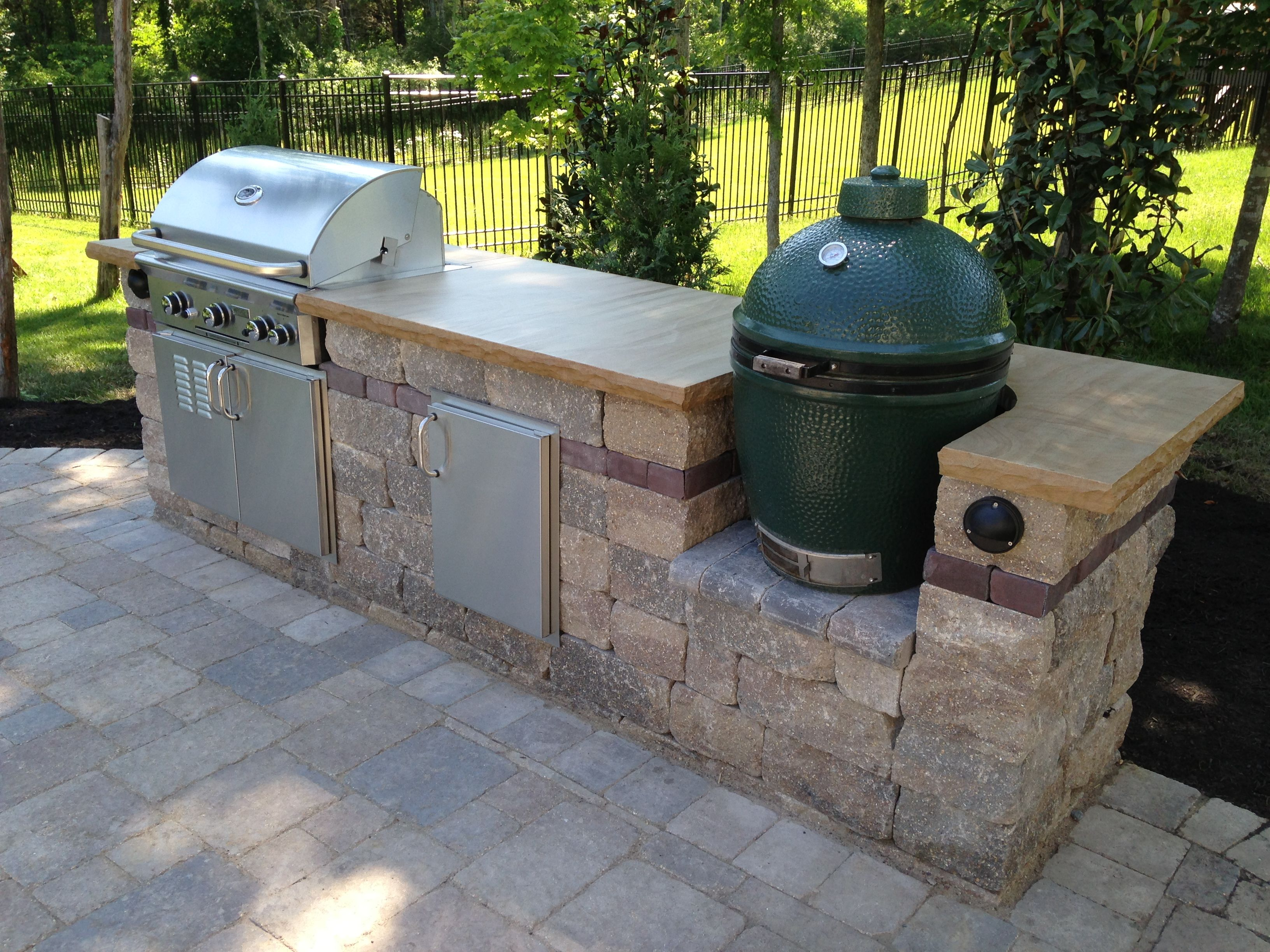 Stone Countertop grill & bge with crab orchard stone countertop | outdoor kitchens