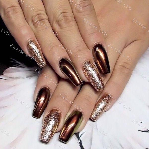 Copper Nails Powder Bronze Mirror Chrome Effect Pigment Nail Art Wish In 2020 Metallic Nails Design Metallic Nails Nail Designs Glitter