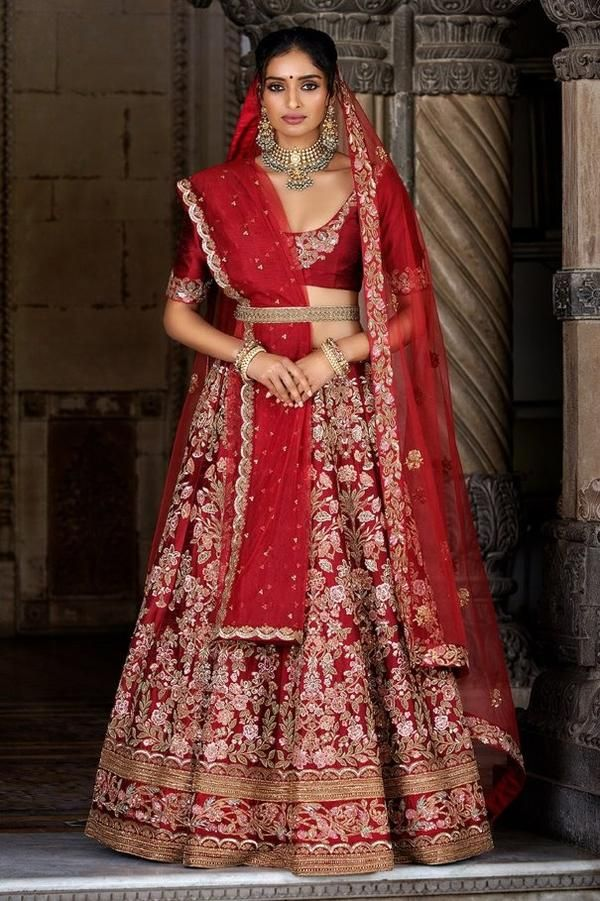 735413c02f67 49 Beautiful Exclusive Designe Red Color Bridal Lehenga Choli-STYLIZONE