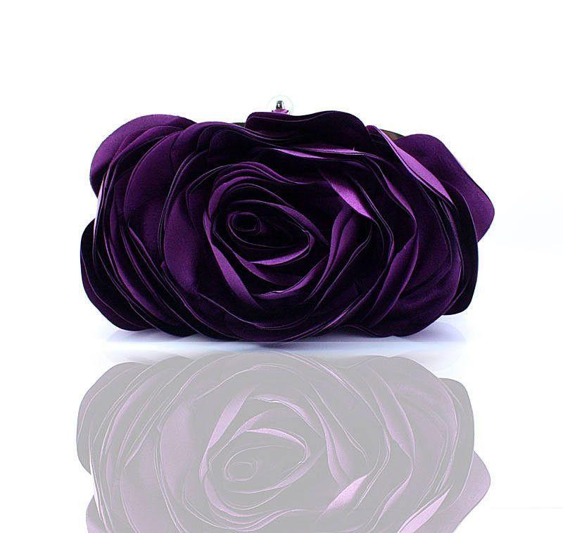 Fashion Vintage Ladies Floral Evening Bag Woman Rose Flower Chain