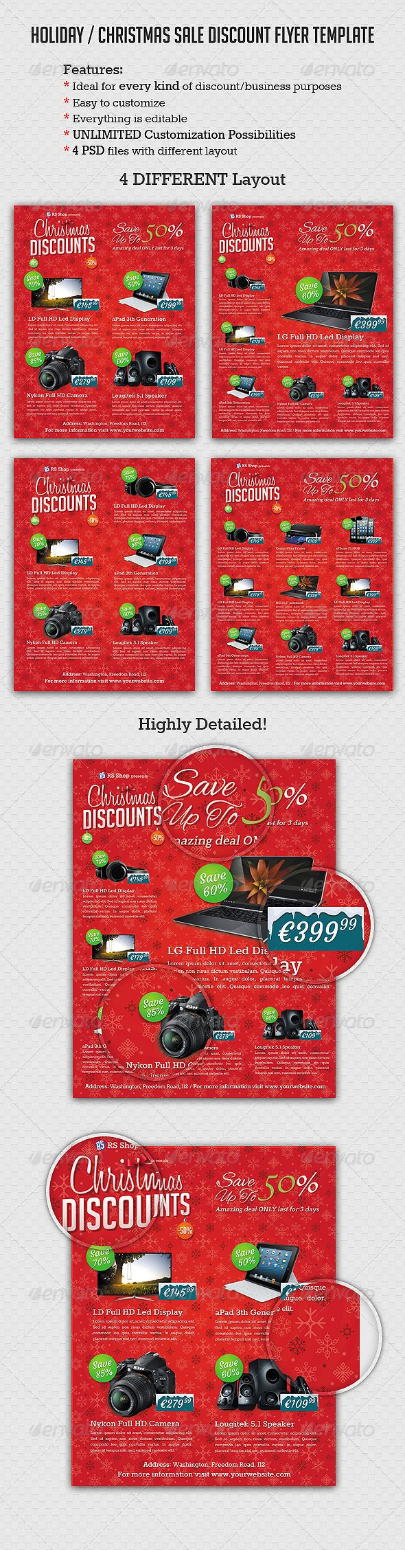 Holiday Christmas Sale Discount Flyer template – Discount Flyer Template