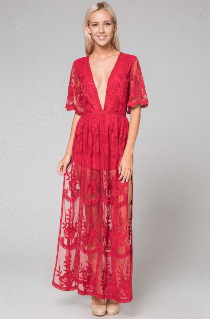b951f8d3d4aa6 Red Fit: EMBROIDERED LACE MAXI DRESS WITH LINING. DEEP V NECK. CAP SLEEVE.  ROMPER LINING. SHEER BACK. Fabric: CROCHET LACE OVERLAY WITH FULL ROMPER  LINING ...