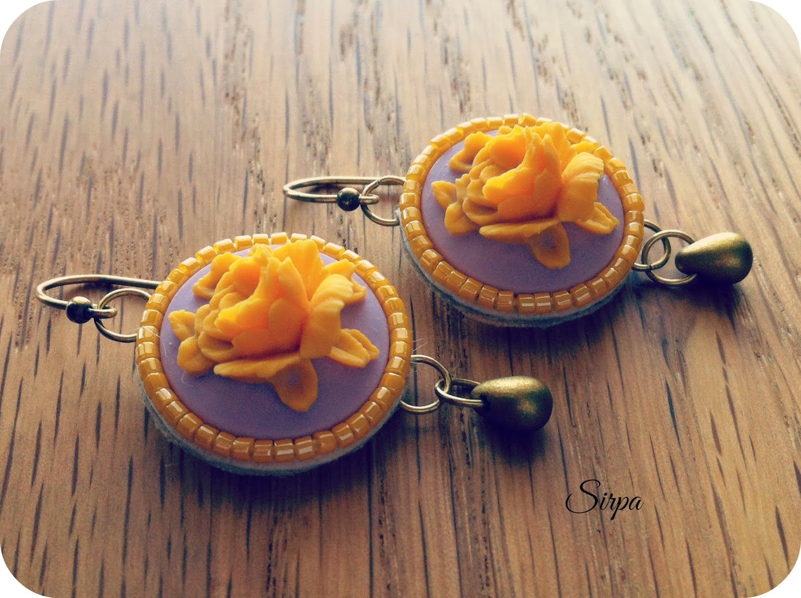 Hand embroidered shabby shic earrings